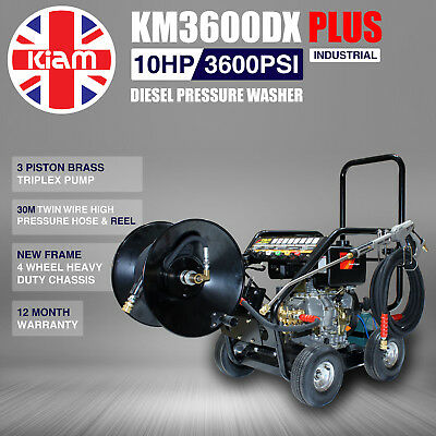 £11/WEEK on LEASE Kiam Diesel Pressure Jet Washer KM3000DX Plus 30M Hose Reel