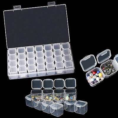 28 Grid Empty Containers Nail Art Storage Box For Nail Art Tip Rhinestone Sequin