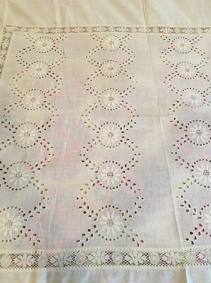 "Beautiful Vintage Handmade White Cotton Lace Tablecloth / Coverlet 73"" X 88""  C"