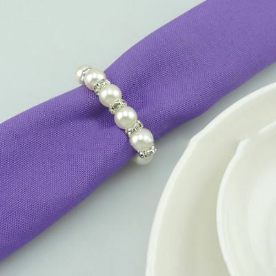 Imitation Pearl Napkin Rings With Elastic For Wedding And Hotel With Diamond