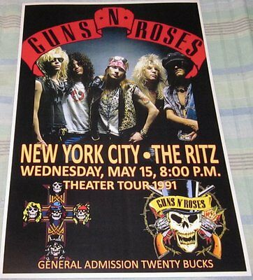 Guns & Roses 1991 The Ritz Replica Concert Poster W/protective Sleeve