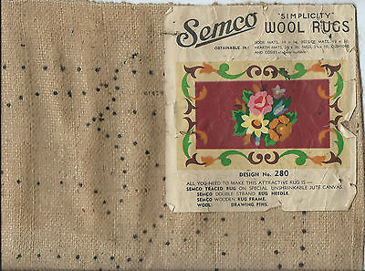 """VINTAGE SEMCO simplicity WOOL RUG Design #280 Embroidery / Tapestry 51"""" x 36"""""""