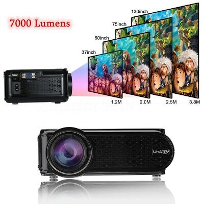 7000 Lumens 1080P HD 3D LED Projector Home Theater Cinema Video VGA USB SD HDMI