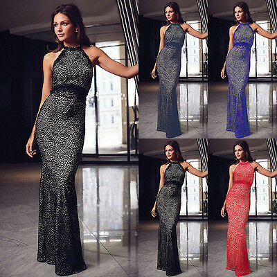UK Women Sleeveless Lace Party Evening Prom Ball Gown Bridesmaid Maxi Long Dress