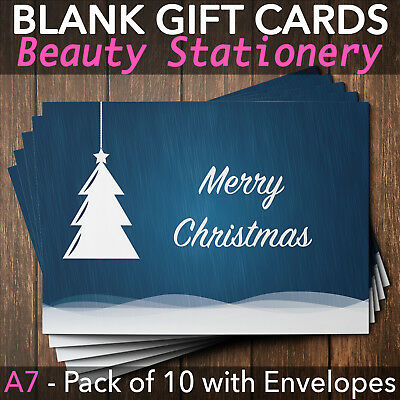 Christmas Gift Voucher Blank Beauty Salon Card Massage Nail x10 A7+Envelopes