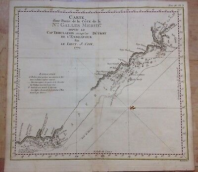 Australia New South Wales 1774 Travel Of Cook Copper Large Engraved Sea Chart