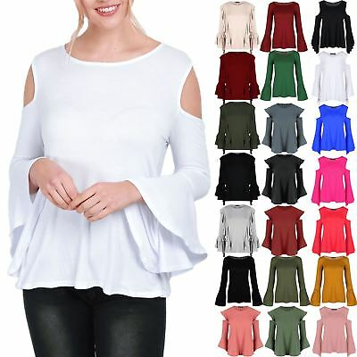 Womens Cold Cut Shoulder Peplum Ruffle Ladies Bell Frill Sleeve Swing Flared Top