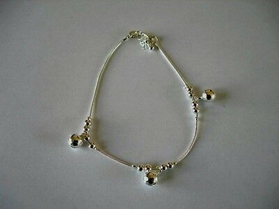 925 Sterling Silver Anklet With Silver Balls & Three Bells + Gift Bag
