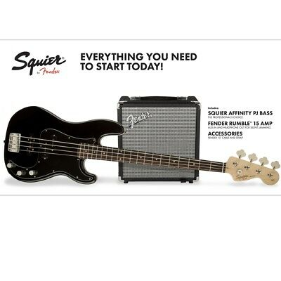 Squier Affinity PJ Bass with Fender Rumble 15 Amplifier Package - Black
