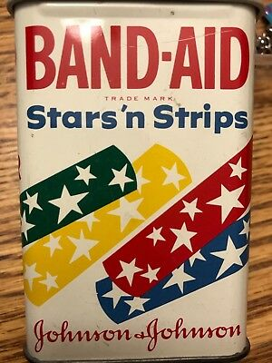 VERY RARE VINTAGE 1950'S Band-Aid Stars 'n Strips METAL Tin SMALL FRY