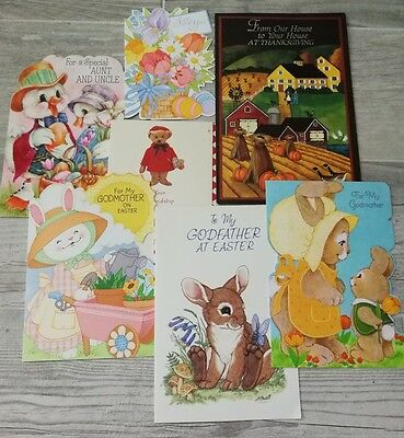 Easter Greeting Cards Vintage Lot Valentines Thanksgiving Card New