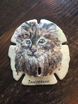 """Collectible 3.5""""x3.5"""" HAND PAINTED BROWN CAT SAND DOLLAR by Cathy Sanderson"""