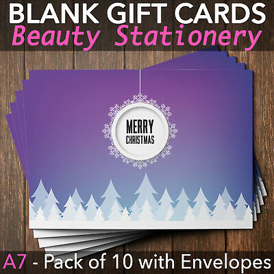 Christmas Gift Vouchers Blank Beauty Salon Card Nail Massage x10 A7+Envelope P