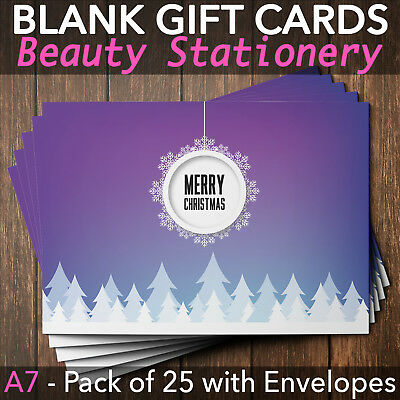 Christmas Gift Vouchers Blank Beauty Salon Card Nail Massage x25 A7+Envelope P
