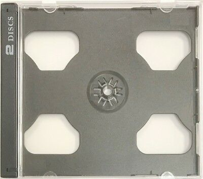 10 STANDARD Black Smart Tray Double CD Jewel Case