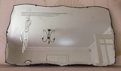 Classic Vintage 1930/40's Frameless Bevelled Edge Etched Rectangular Wall Mirror