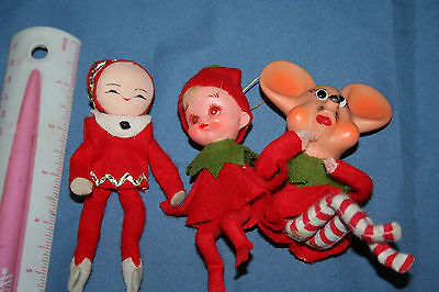 Set of 3 Vintage Christmas Elf Pixie and Mouse Japan