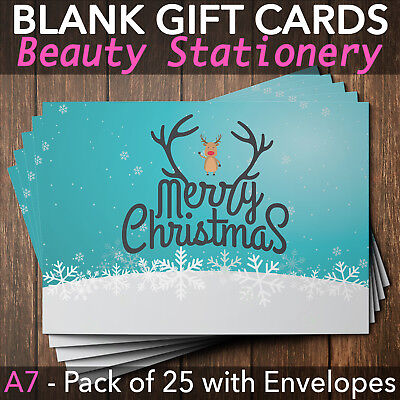 Christmas Gift Vouchers Blank Beauty Salon Card Nail Massage x25 A7+Envelope RU