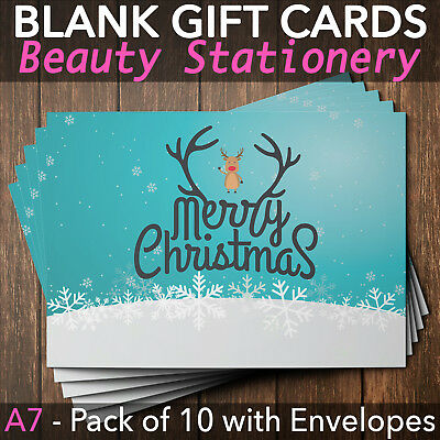 Christmas Gift Vouchers Blank Beauty Salon Card Nail Massage x10 A7+Envelope RU