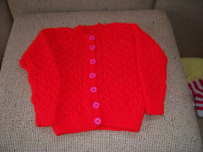 New Hand Knitted Cardigan Red 3 -5  Years Approx