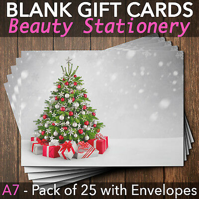 Christmas Gift Vouchers Blank Beauty Salon Card Nail Massage x25 A7+Envelope SI