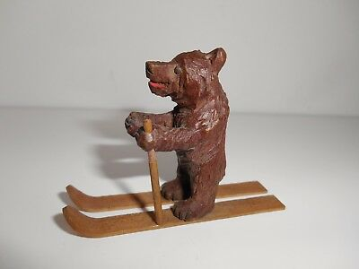 Antique Tiny Miniature Skiing Skier Carved Swiss Black Forest Wooden Bear