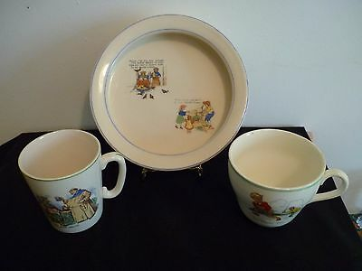 3 Vintage Pieces Of Ironstone Nursery Ware With Rhymes