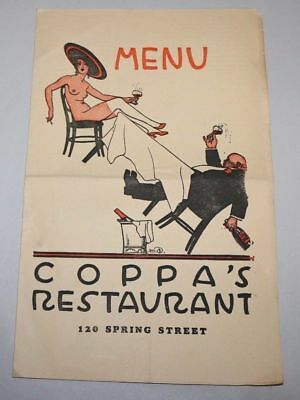 COPPA's RESTAURANT Menu San Francisco - Jack London - Maynard Dixon