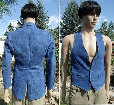 vintage 70's DENIM DISCO blazer & vest 2 piece suit pimp daddy mens 38R small