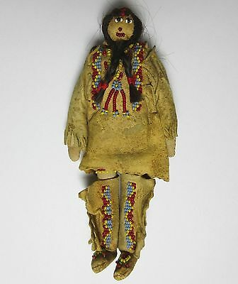 Antique PLAINS SIOUX INDIAN DOLL BEADED LEATHER HAIR