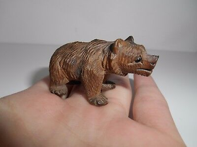 Antique Tiny Miniature Carved Swiss Black Forest Wooden Bear With Glass Eyes