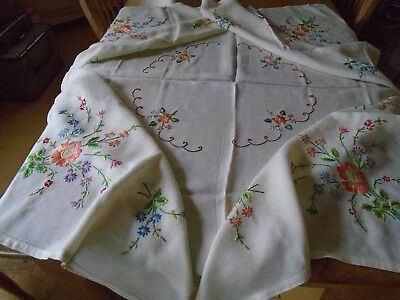 Vintage Hand Embroidered  Linen Tablecloth -  46 X 50 Inches