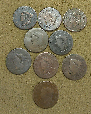 Large cents - 1816, 1817, 1818, 1819 (9 total) - free shipping