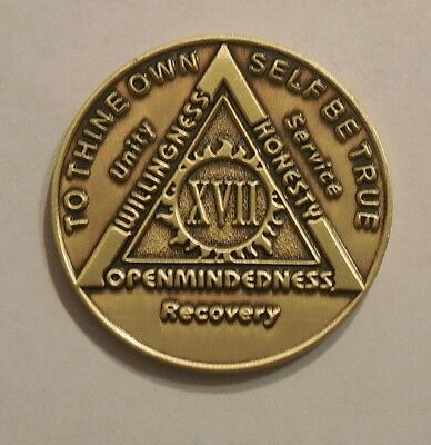 aa bronze alcoholics anonymous 17 year sobriety chip coin token medallion NEW