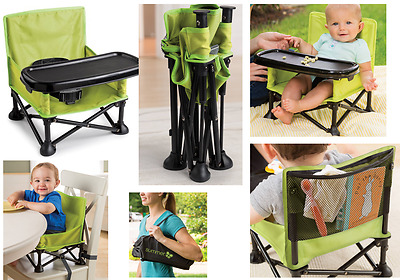 Folding Infant / Toddler Pop N' Sit Portable Booster High Chair Lightweight Tray