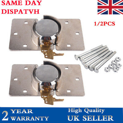 1/2 Pc 73Mm Security Van Lock Garden Shed Padlock Round Hasp Set Chrome Plated