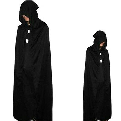 Fabric Hooded Cloak Wicca Robe Renaissance Medieval Witchcraft Larp Cape Unisex
