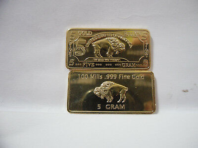 Lingotto 5 Gram Classic Buffalo .999 24 No Gold Bullion Bar 5 Five.