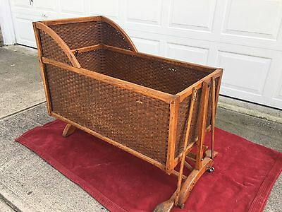 Large Antique Wicker Baby Bassinet with Oak Frame