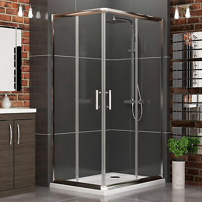 Corner Entry Glass Sliding Door Cubicle Square Shower Enclosure + Acrylic Tray