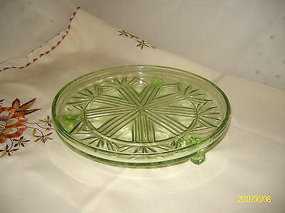 Vintage Green Pressed Glass Cake Plate: