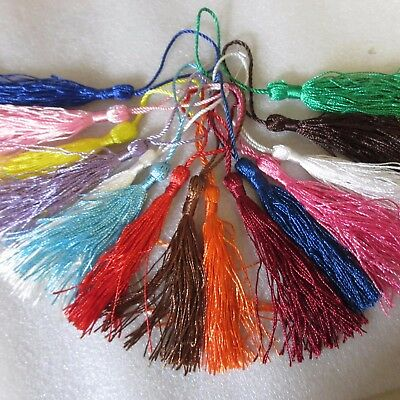 20 Large Silky Tassels, 23 Colours; or 20-100 Mixed, 8cms, Cushion/Craft/Frills