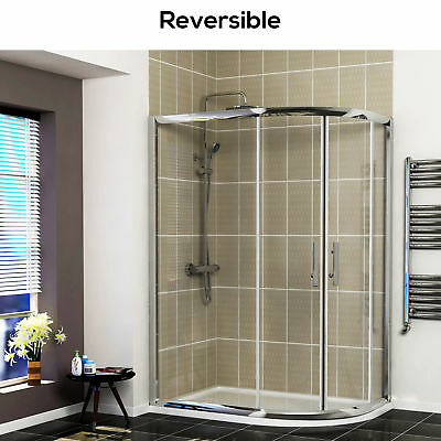 Modern Double Door Walk In Offset Quadrant Glass Shower Enclosure + Acrylic Tray