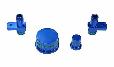 6.6L DURAMAX PCV Reroute Fittings with Reroute Port Plug and Resonator Plug BLUE