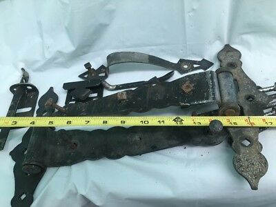 Vintage Wrought Iron Gate Hinge, Handle, And Latch