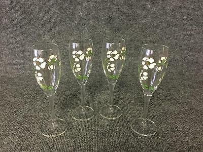 Perrier Jouet Hand Painted Champagne Flutes Glasses x4 MINT