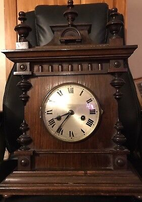 Beautiful Antique Wood Mantle Clock 21 Inches In Height