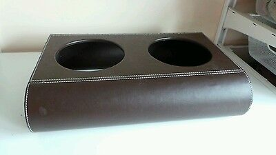 Large Brown Faux Leather Double Pot Holder Dog Cat Pet Bowl Feeder