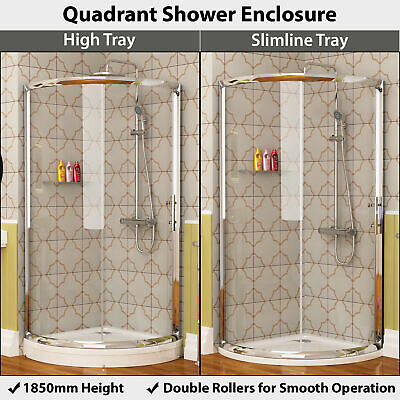 Single Sliding Door Quadrant Walk in Shower Enclosure Cubicle With Acrylic Trays