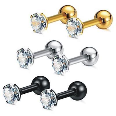 Women's Unisex Surgical Steel Cubic Zirconia Barbell Earrings Cartilage Helix